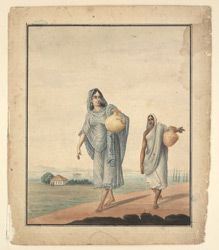 Two women carrying water in pots, the Ganges beyond
